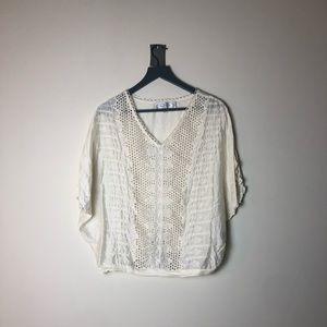 Beyond Vintage Crochet Cutout Blouse